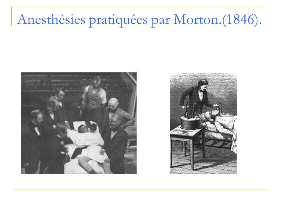 Anesthésies pratiquées par Morton.(1846).