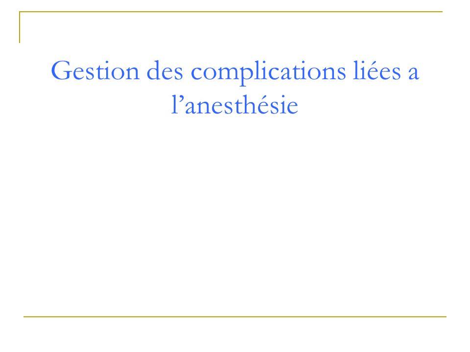 Gestion des complications liées a l'anesthésie
