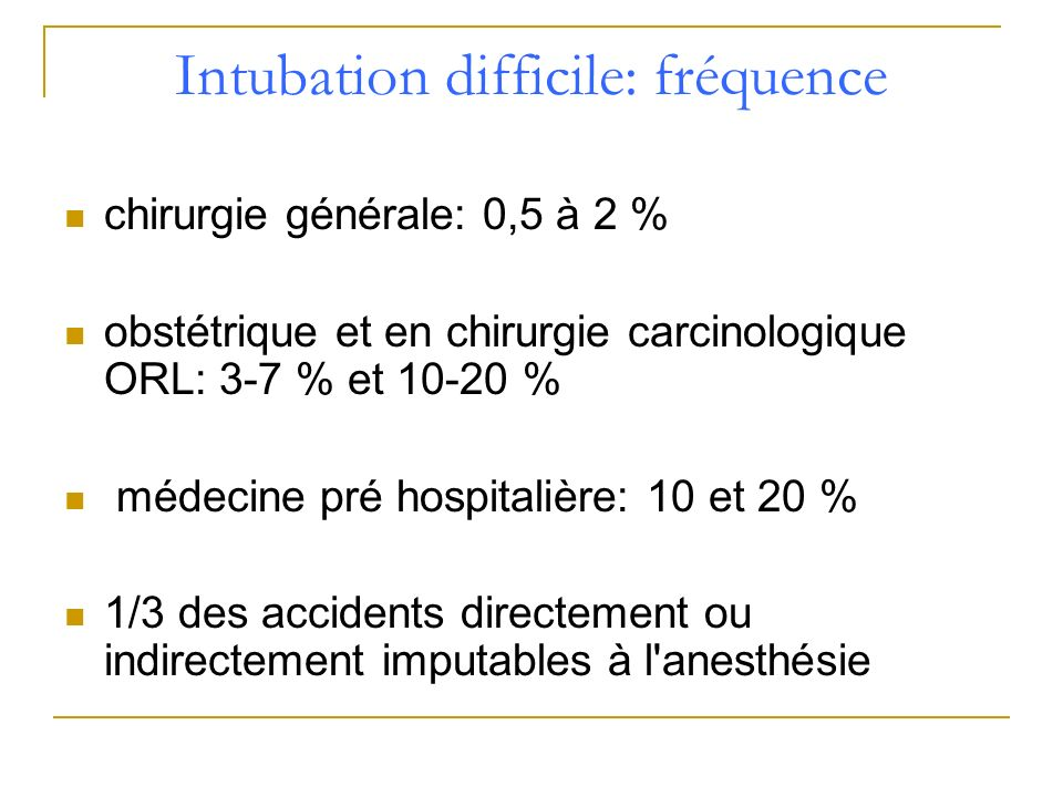 Intubation difficile: fréquence