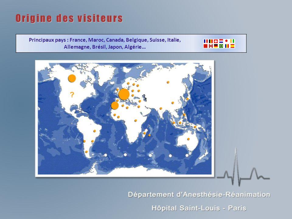 Origine des visiteurs Principaux pays : France, Maroc, Canada, Belgique, Suisse, Italie, Allemagne, Brésil, Japon, Algérie…
