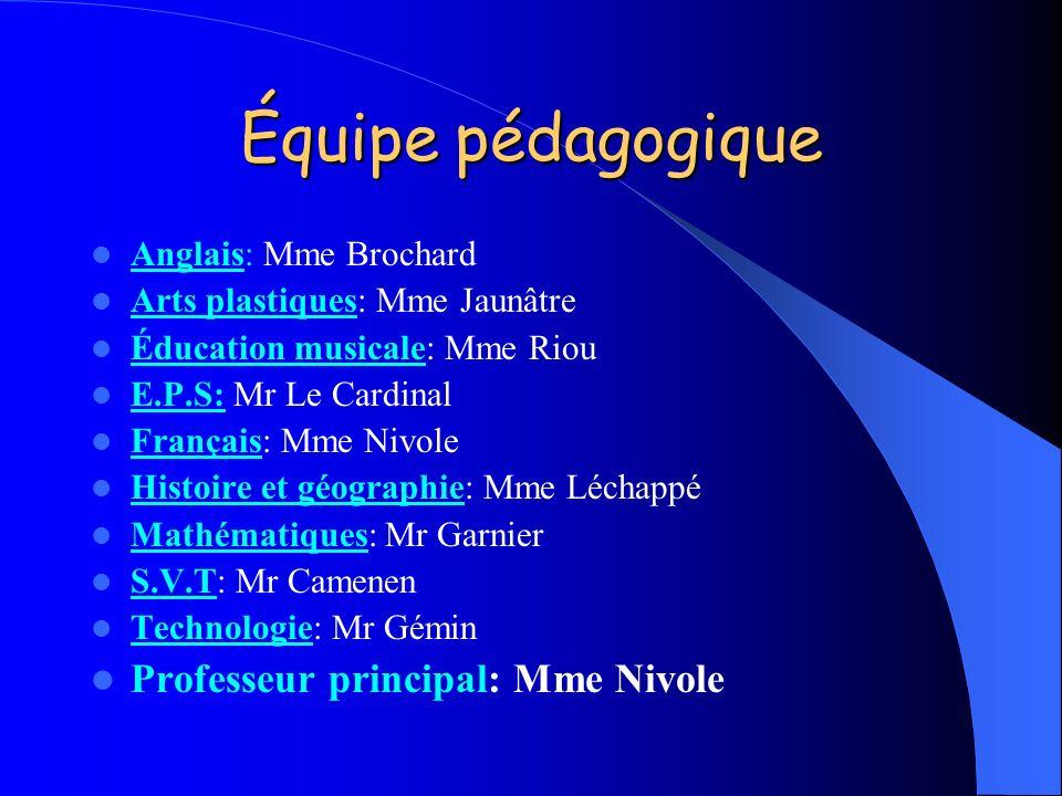 Équipe pédagogique Professeur principal: Mme Nivole