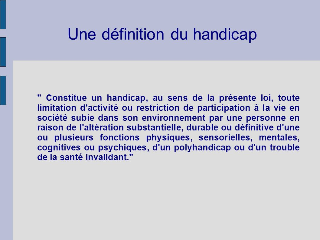 the handicap of definition thesis How to write an impromptu essay write a thesis sentence (the main idea of your essay) dogs are used to help the handicapped.