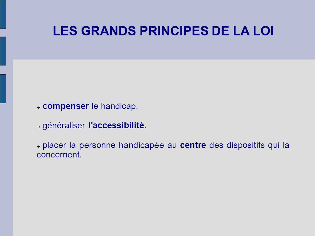 LES GRANDS PRINCIPES DE LA LOI