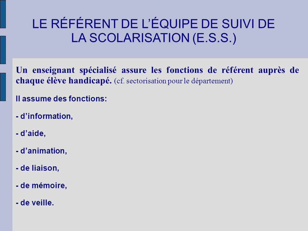 LE RÉFÉRENT DE L'ÉQUIPE DE SUIVI DE LA SCOLARISATION (E.S.S.)