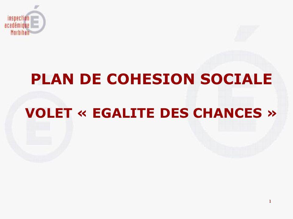 PLAN DE COHESION SOCIALE VOLET « EGALITE DES CHANCES »