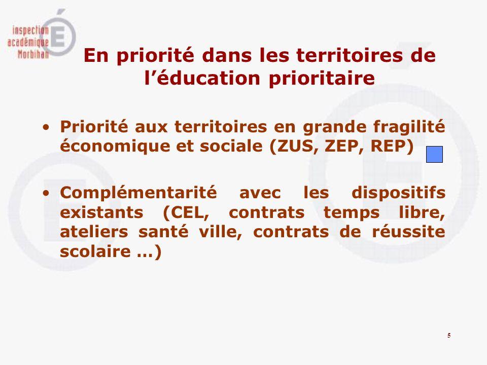 En priorité dans les territoires de l'éducation prioritaire