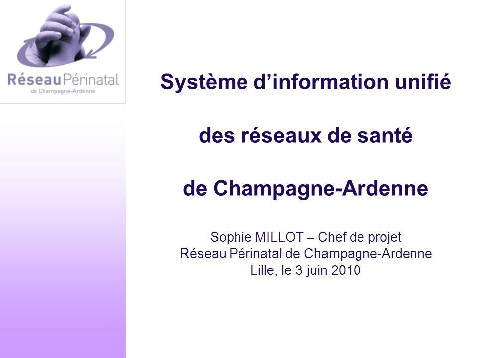 Système d'information unifié des réseaux de santé de Champagne-Ardenne Sophie MILLOT – Chef de projet Réseau Périnatal de Champagne-Ardenne Lille, le 3 juin 2010