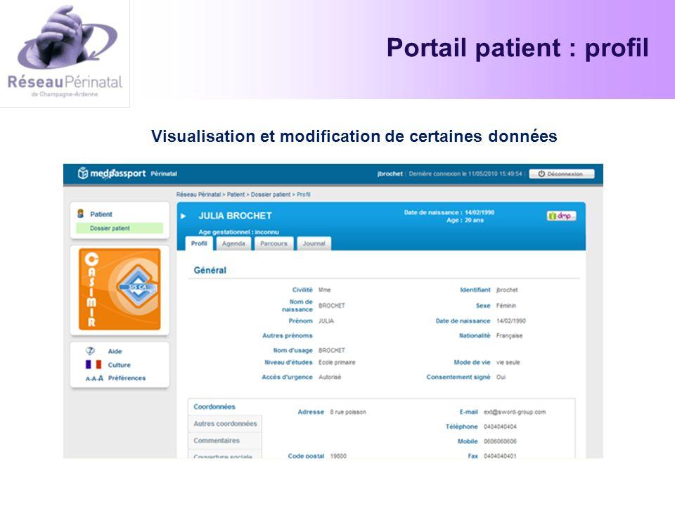 Portail patient : profil