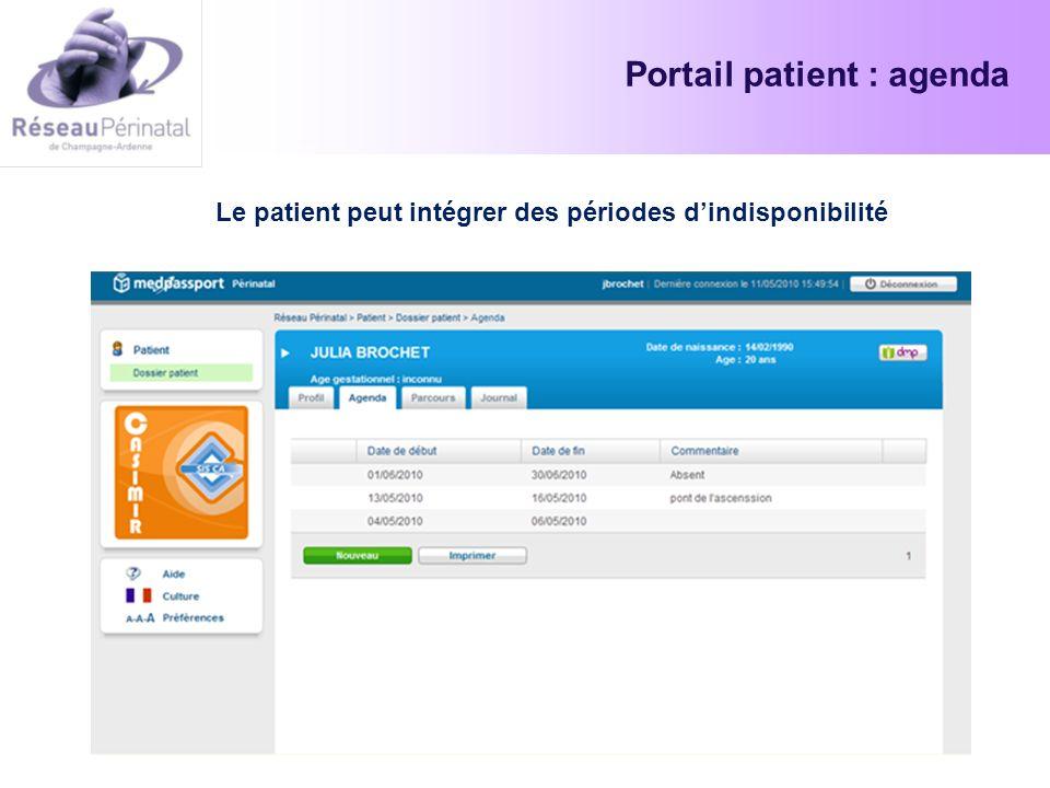 Portail patient : agenda