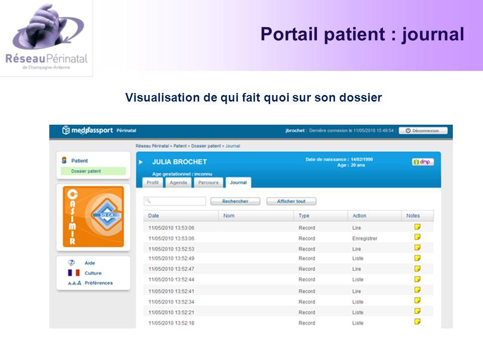 Portail patient : journal