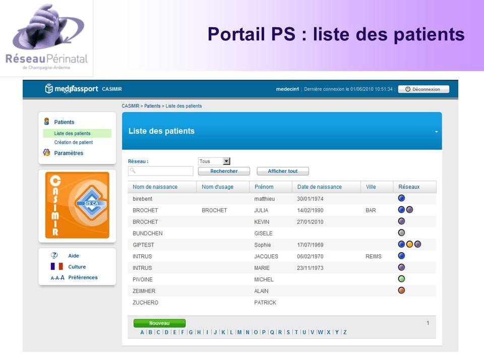 Portail PS : liste des patients
