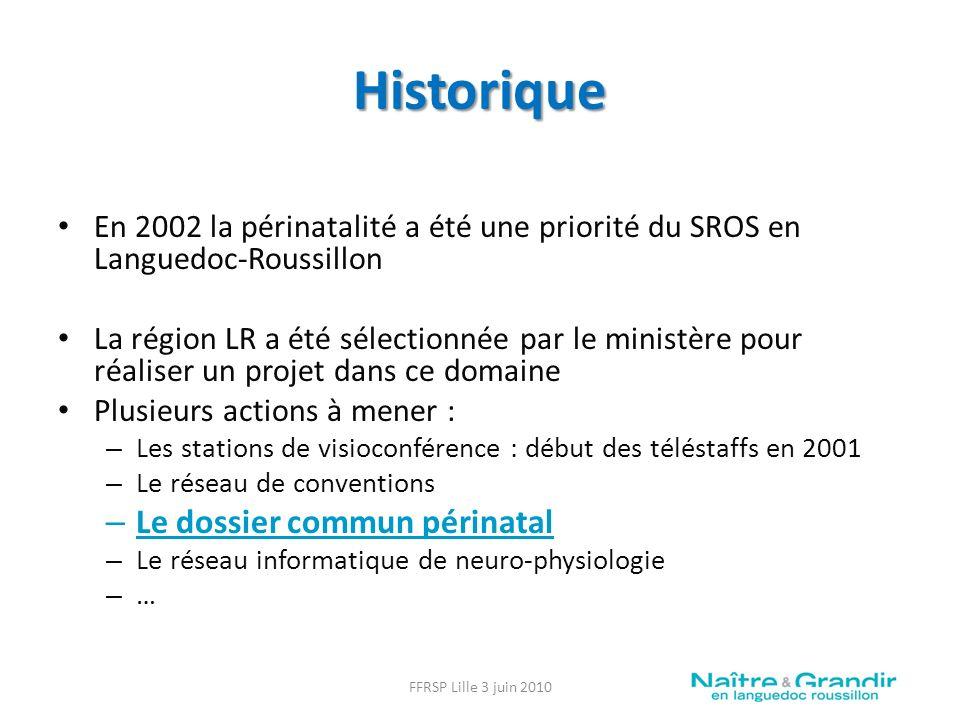 Historique Le dossier commun périnatal