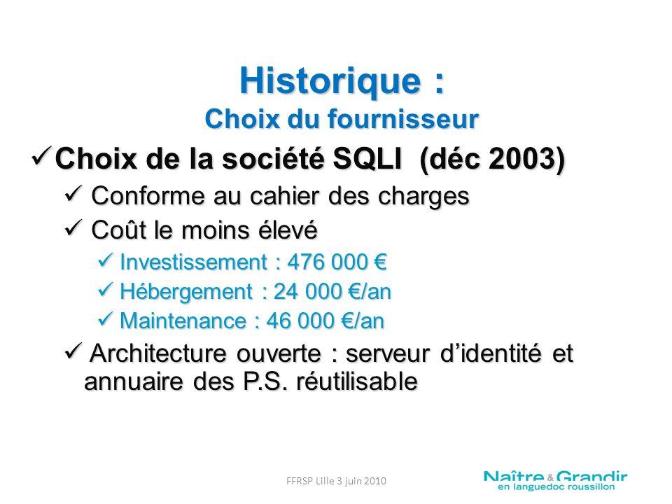 Historique : Choix du fournisseur