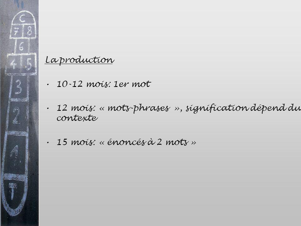 La production 10-12 mois: 1er mot. 12 mois: « mots-phrases », signification dépend du contexte.