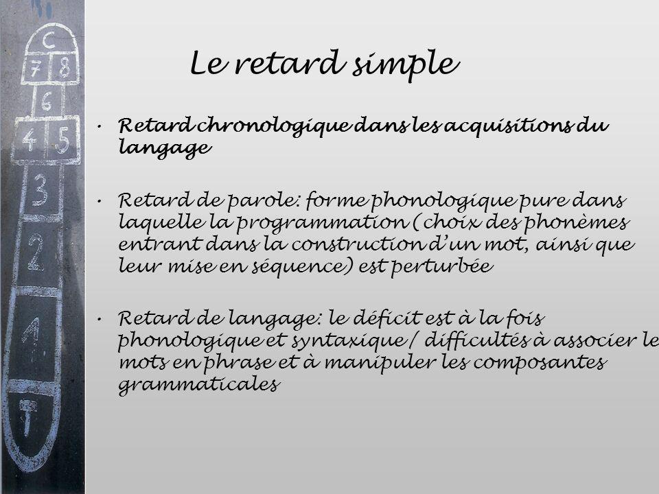 Le retard simple Retard chronologique dans les acquisitions du langage