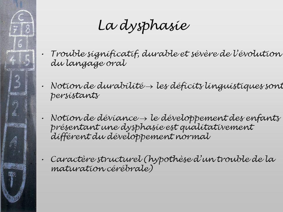 La dysphasie Trouble significatif, durable et sévère de l'évolution du langage oral.