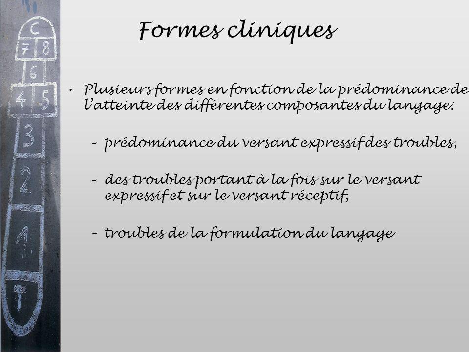 Formes cliniques Plusieurs formes en fonction de la prédominance de l'atteinte des différentes composantes du langage: