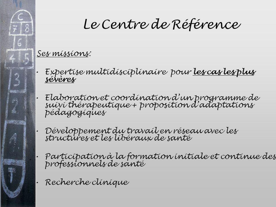Le Centre de Référence Ses missions: Expertise multidisciplinaire pour les cas les plus sévères.
