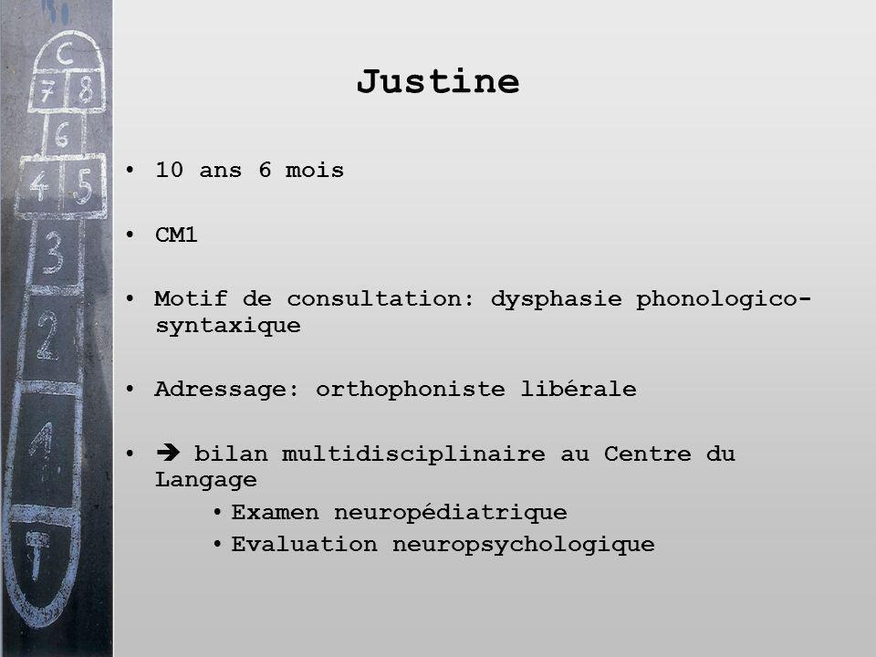 Justine 10 ans 6 mois. CM1. Motif de consultation: dysphasie phonologico-syntaxique. Adressage: orthophoniste libérale.