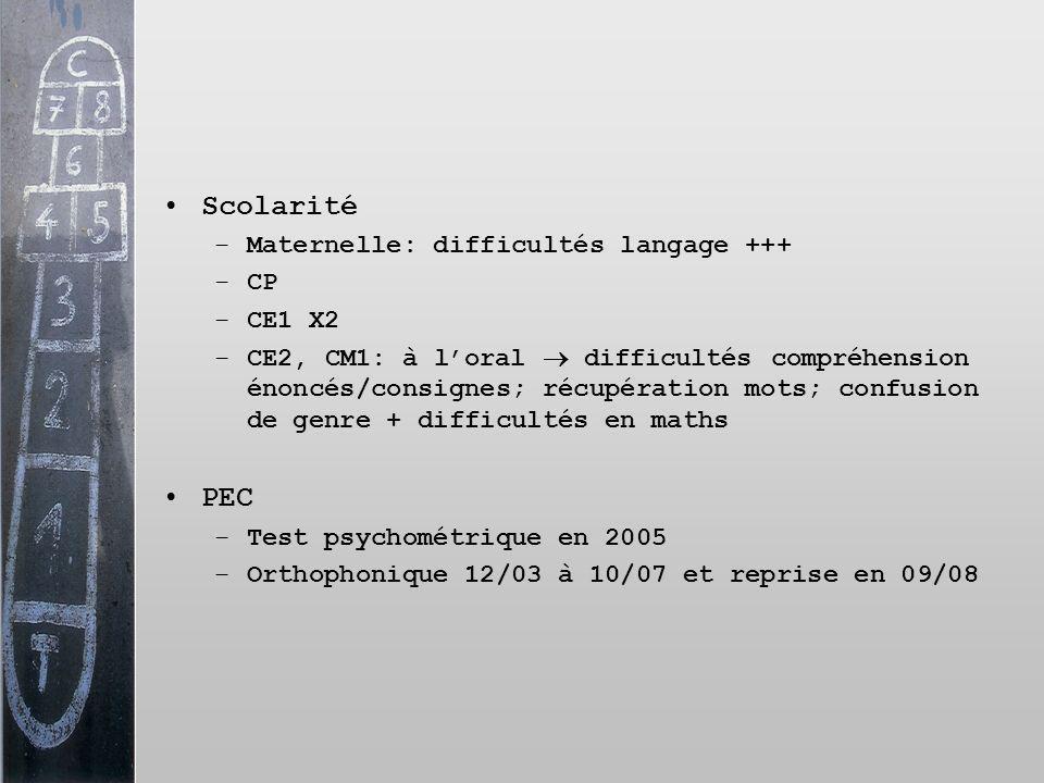 Scolarité PEC Maternelle: difficultés langage +++ CP CE1 X2