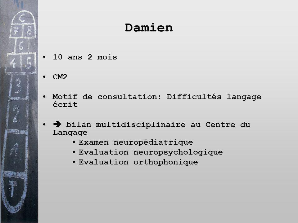 Damien 10 ans 2 mois. CM2. Motif de consultation: Difficultés langage écrit.  bilan multidisciplinaire au Centre du Langage.