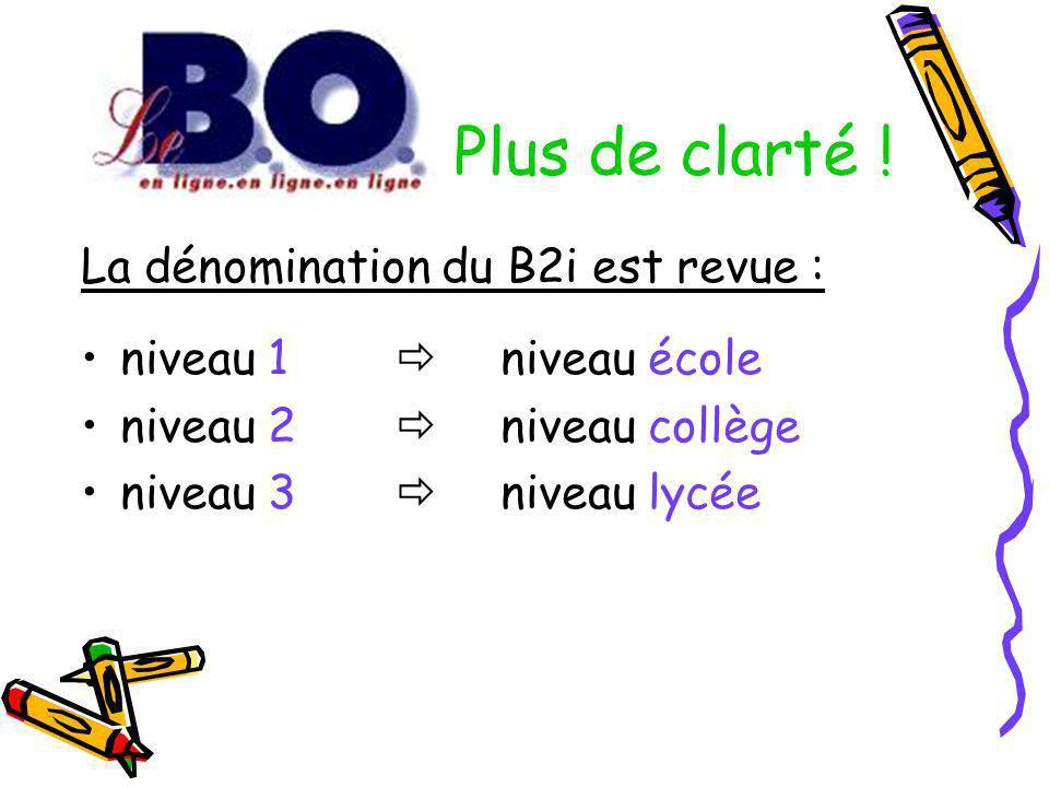 Plus de clarté ! La dénomination du B2i est revue :