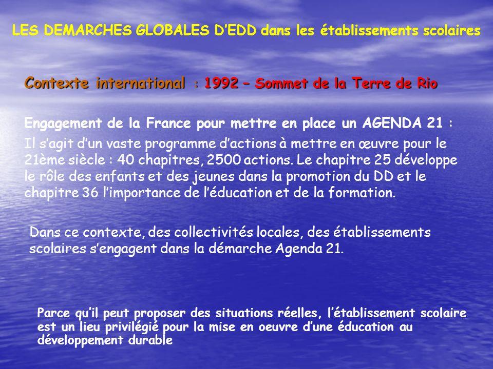 LES DEMARCHES GLOBALES D'EDD dans les établissements scolaires