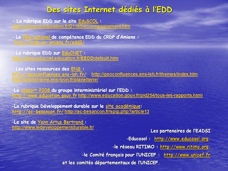 Des sites Internet dédiés à l'EDD