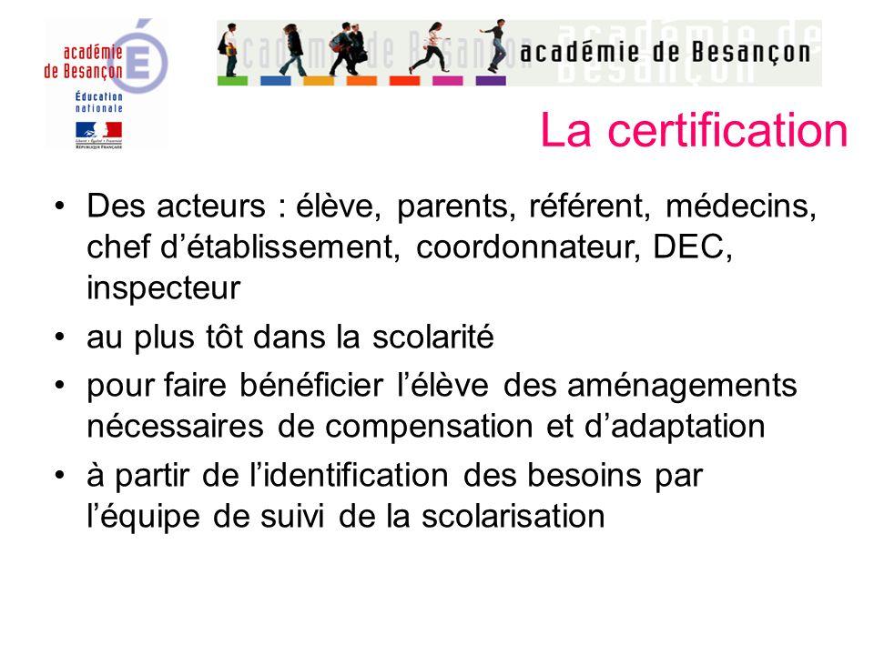 La certification Des acteurs : élève, parents, référent, médecins, chef d'établissement, coordonnateur, DEC, inspecteur.