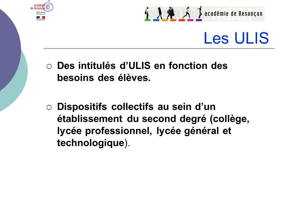 Les ULIS Des intitulés d'ULIS en fonction des besoins des élèves.