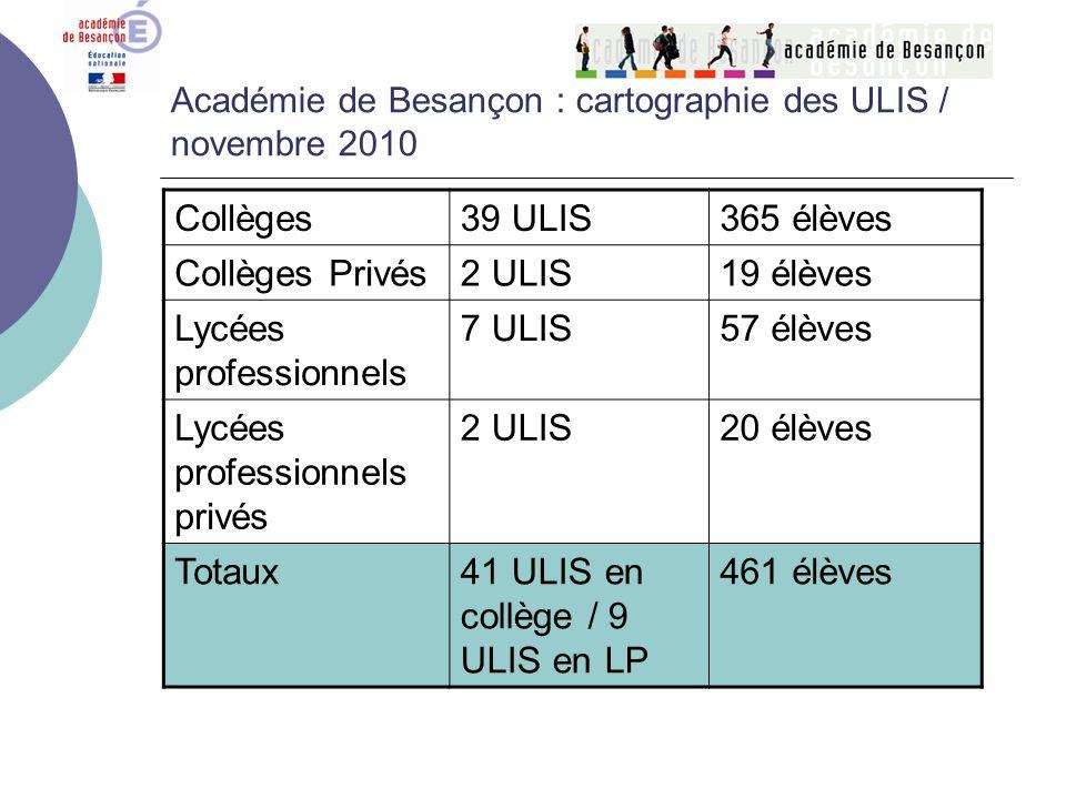 Académie de Besançon : cartographie des ULIS / novembre 2010