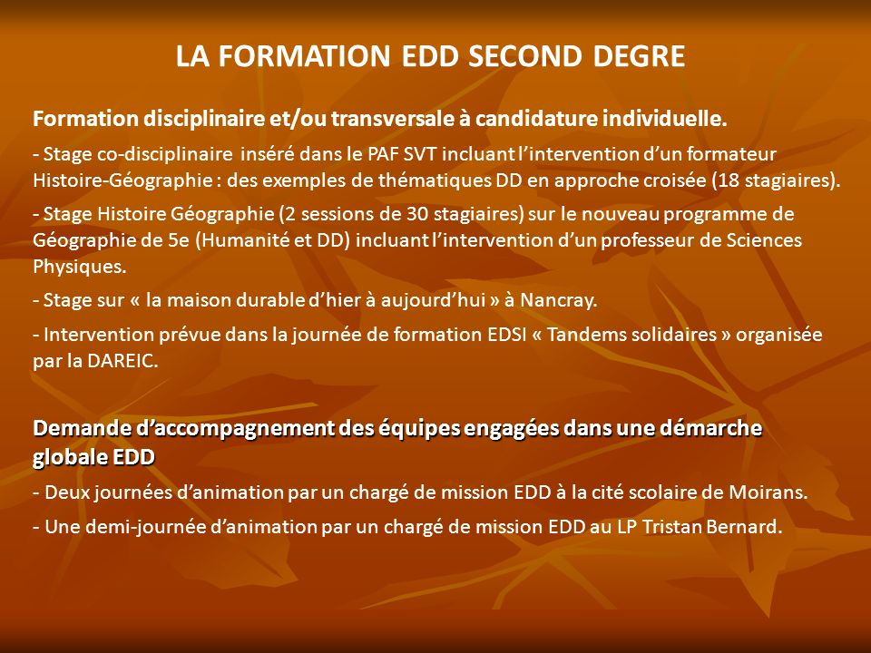 LA FORMATION EDD SECOND DEGRE