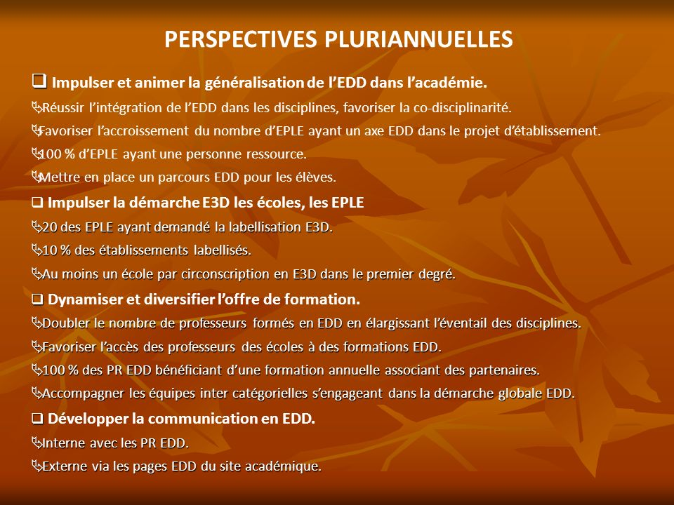 PERSPECTIVES PLURIANNUELLES