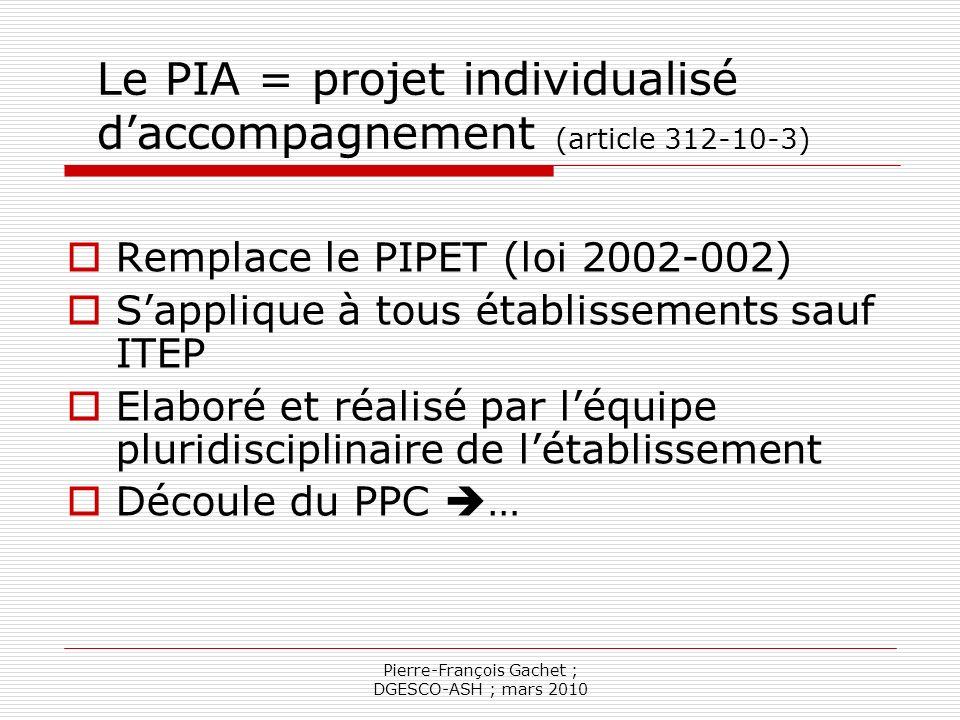 Le PIA = projet individualisé d'accompagnement (article 312-10-3)