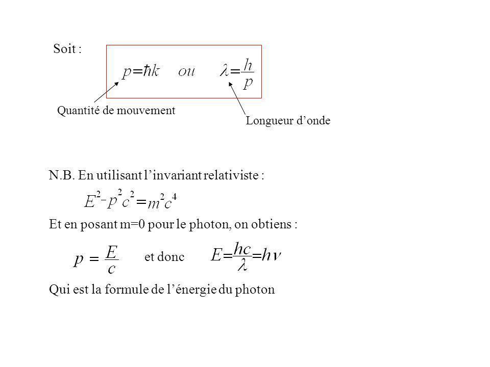 N.B. En utilisant l'invariant relativiste :
