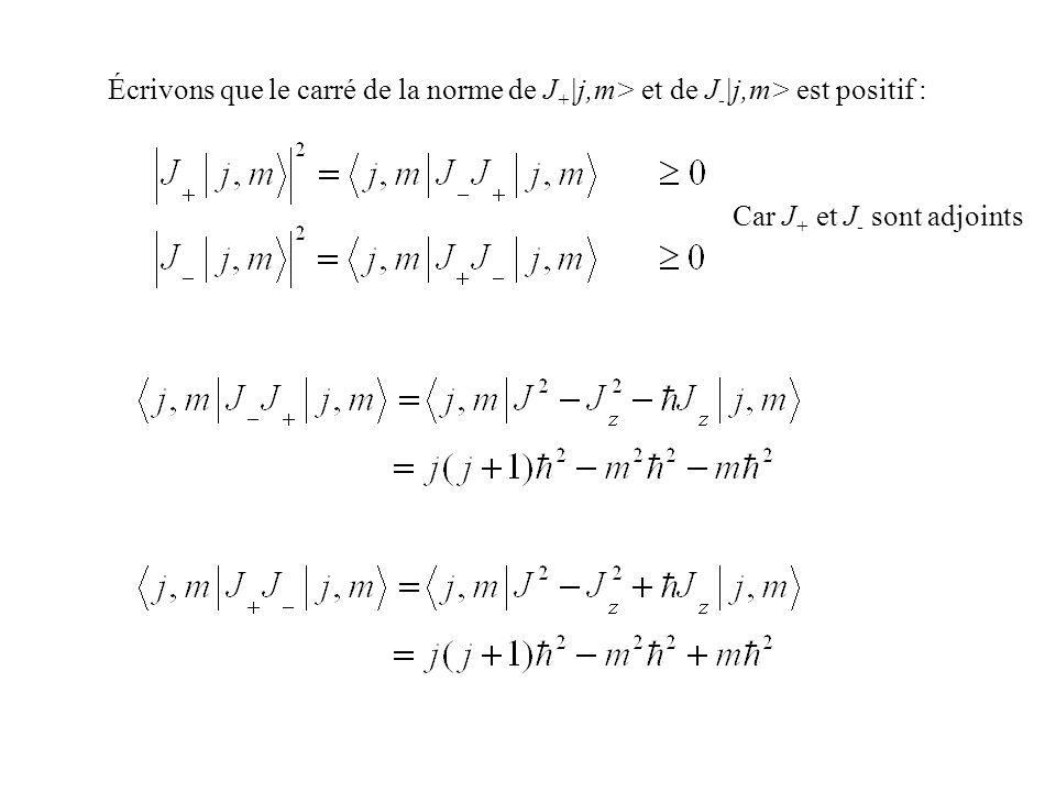 Écrivons que le carré de la norme de J+|j,m> et de J-|j,m> est positif :