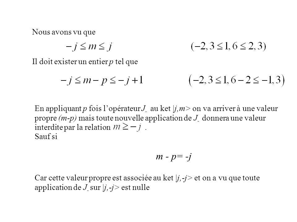 m - p= -j Nous avons vu que Il doit exister un entier p tel que