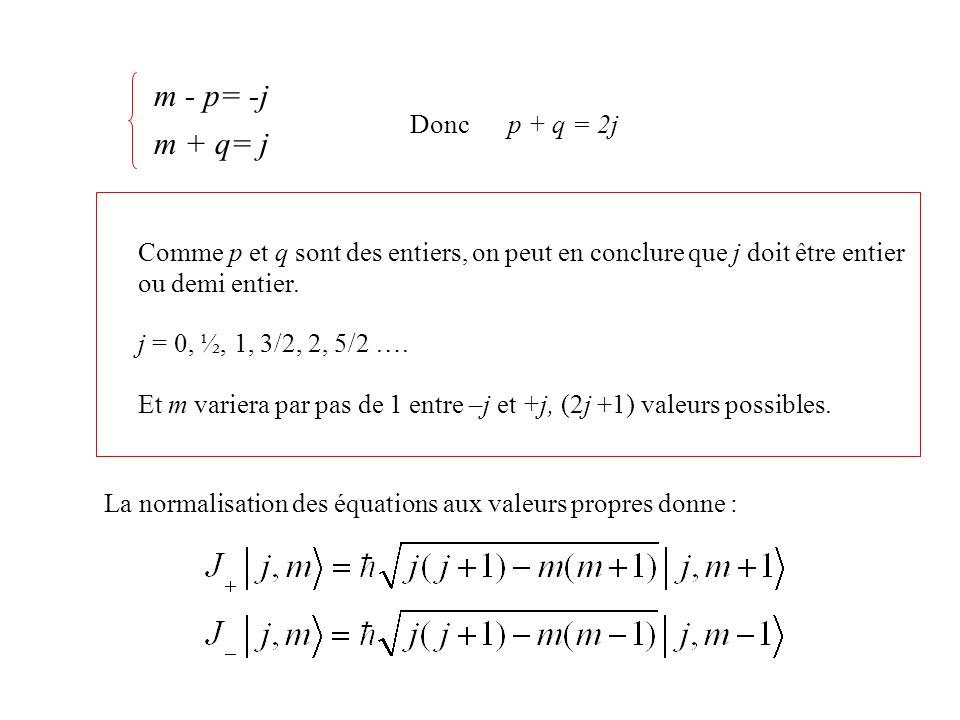 m - p= -j m + q= j Donc p + q = 2j
