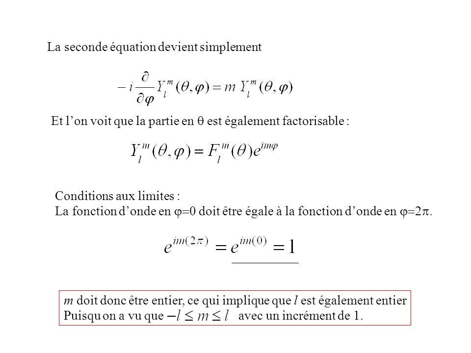 La seconde équation devient simplement