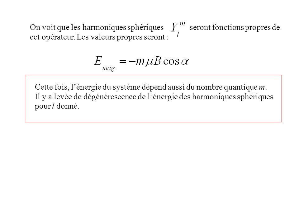 On voit que les harmoniques sphériques seront fonctions propres de cet opérateur. Les valeurs propres seront :