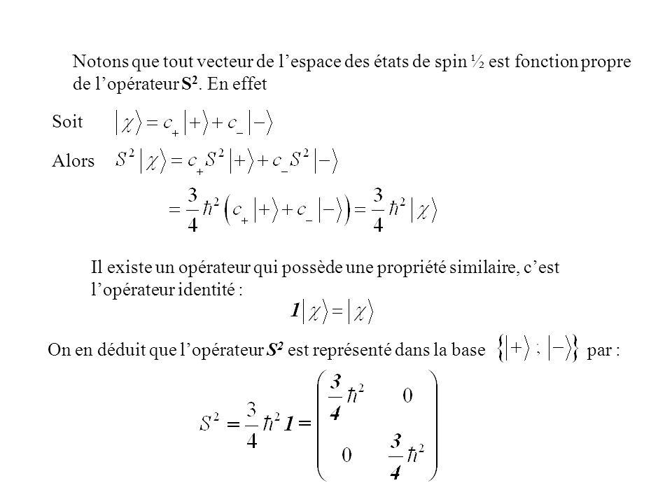 Notons que tout vecteur de l'espace des états de spin ½ est fonction propre de l'opérateur S2. En effet