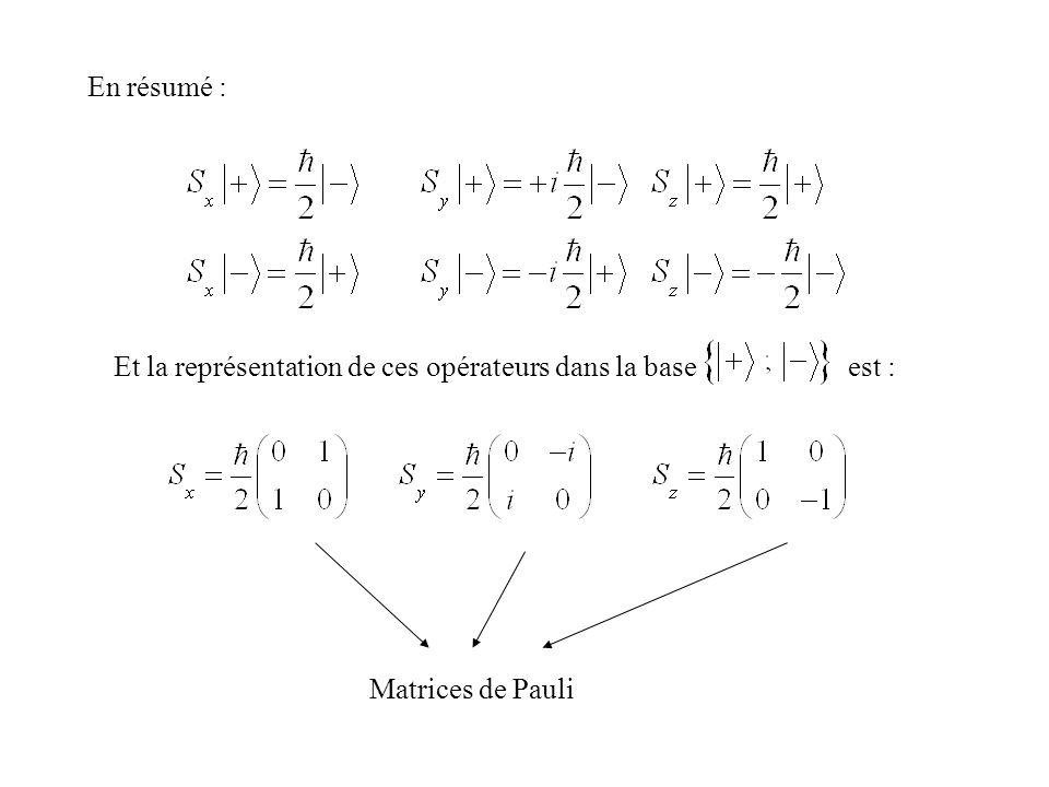 En résumé : Et la représentation de ces opérateurs dans la base est : Matrices de Pauli.