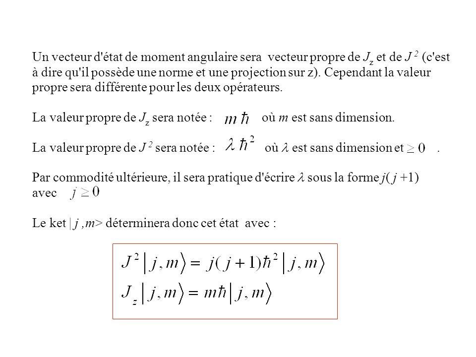 Un vecteur d état de moment angulaire sera vecteur propre de Jz et de J 2 (c est à dire qu il possède une norme et une projection sur z). Cependant la valeur propre sera différente pour les deux opérateurs.