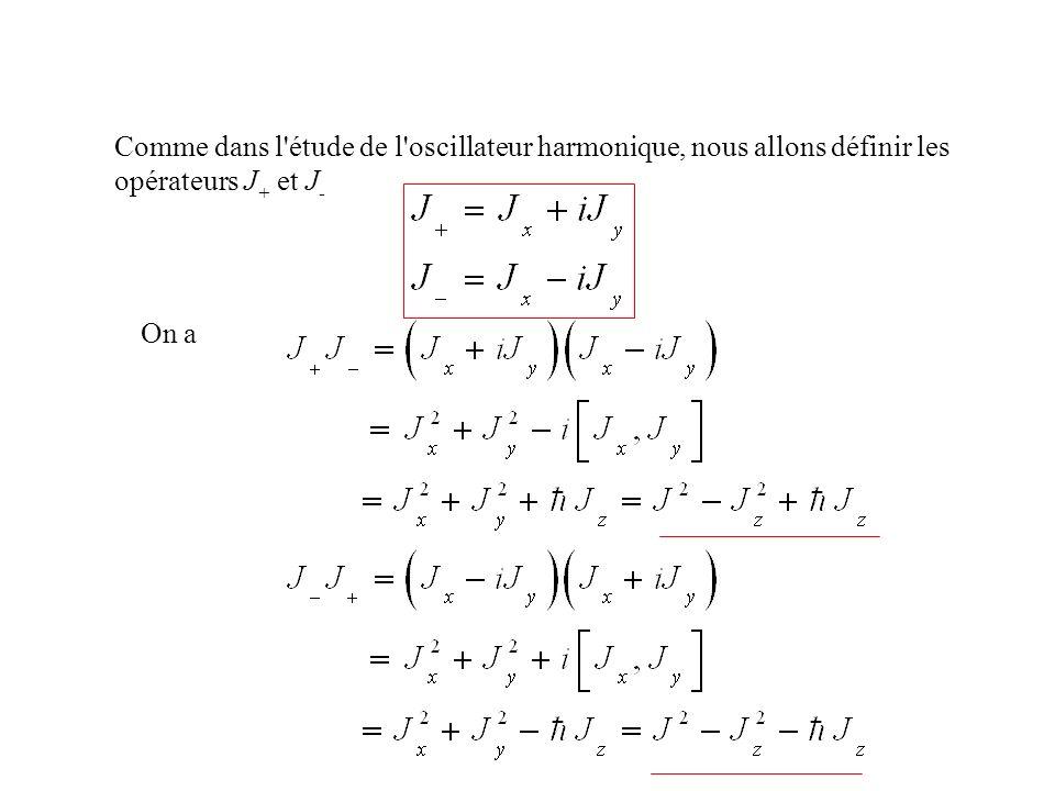 Comme dans l étude de l oscillateur harmonique, nous allons définir les opérateurs J+ et J-
