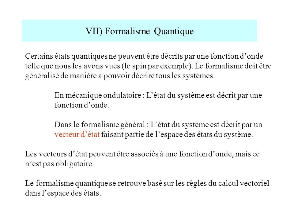 VII) Formalisme Quantique