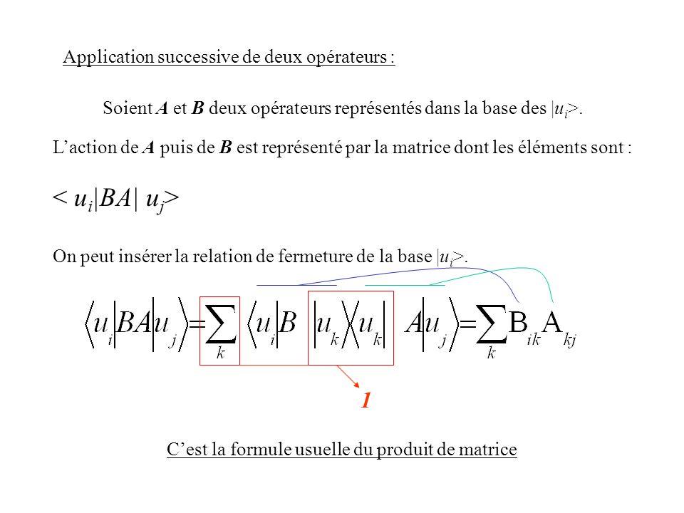 < ui|BA| uj> 1 Application successive de deux opérateurs :