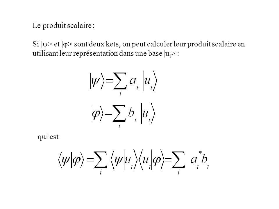Le produit scalaire : Si |y> et |j> sont deux kets, on peut calculer leur produit scalaire en utilisant leur représentation dans une base |ui> :