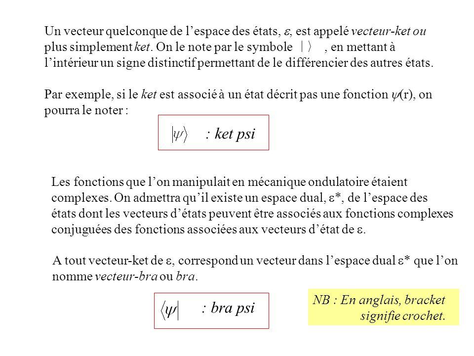 Un vecteur quelconque de l'espace des états, e, est appelé vecteur-ket ou plus simplement ket. On le note par le symbole , en mettant à l'intérieur un signe distinctif permettant de le différencier des autres états.
