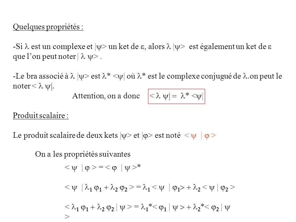 Quelques propriétés : Si l est un complexe et |y> un ket de e, alors l |y> est également un ket de e que l'on peut noter | l y> .