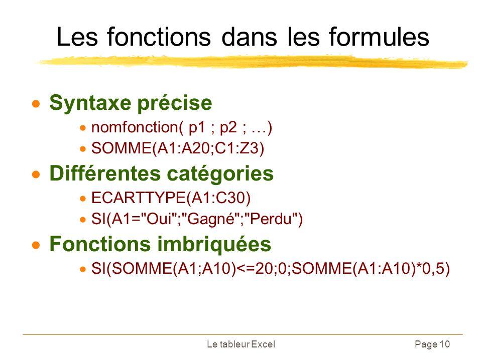 Les fonctions dans les formules